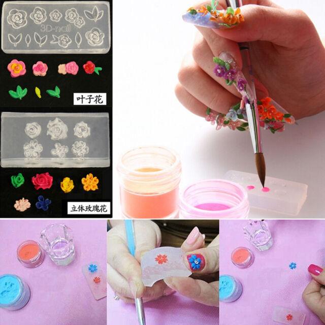 6pc Clear Silicone Mould 3d Diy Nail Art Flower Uv Gel Acrylic