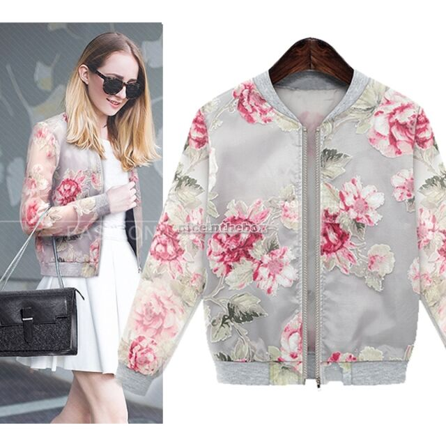 Womens Vintage Floral Print Organza Sleeve See Through Zip Up Jacket Coat Top