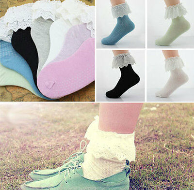 Hot New Fashion Women's Ladies Girl Princess Soft Lace Ruffle Frilly Ankle Socks