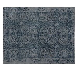 Details About Uk Rugs Baxter Blue Handloom Printed Tufted Persian Style Woolen Carpet