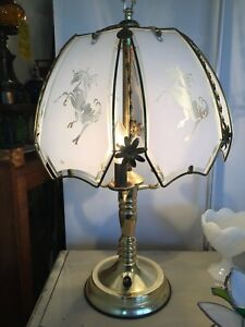 Vintage Unicorn Blue Glass Panel Brass Desk Table Lamp 3 Bulbs 3 Way