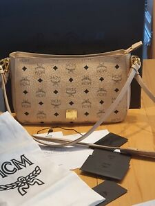 Details zu 100% Original MCM Essential Shoulder Bag Visetos Medium Beige NEU!TOP!