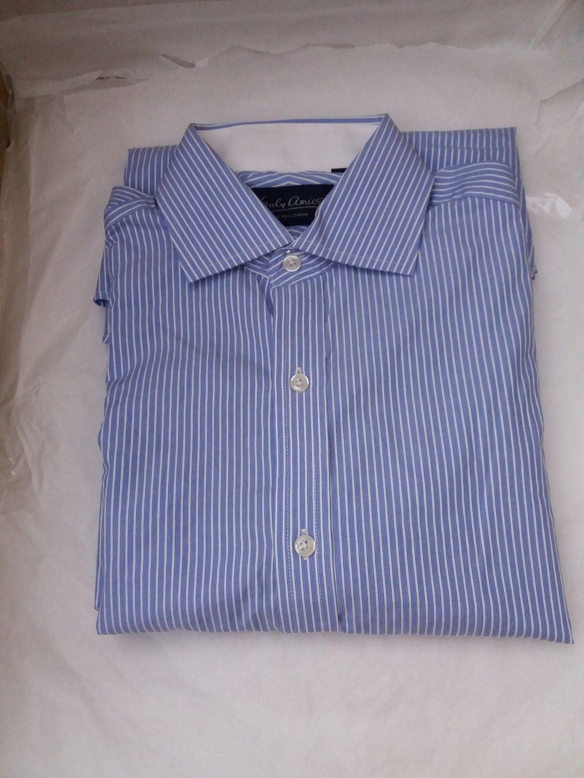 Uomo Hardy Amies DI Saville Row London A Maniche Lunghe Camicia Blu a Righe