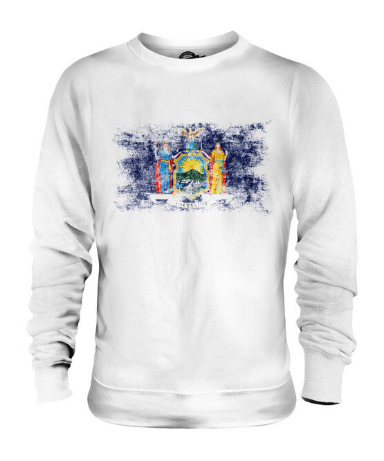 NEW YORK STATE DISTRESSED FLAG UNISEX SWEATER TOP NEW YORKER SHIRT JERSEY GIFT