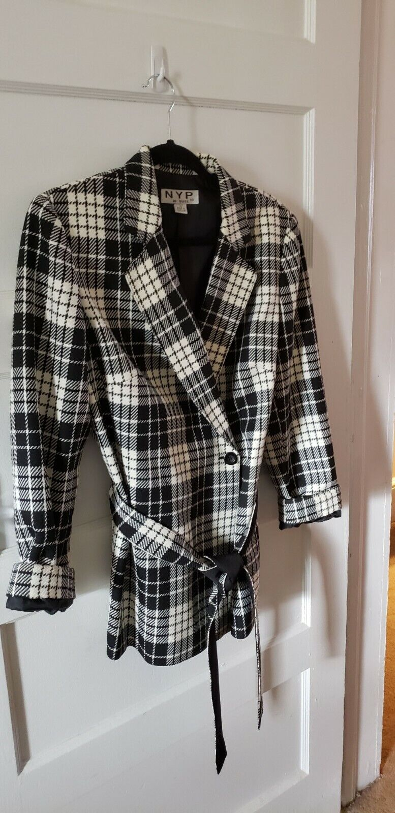 1970s White and Navy Plaid Suit with a Round Belt
