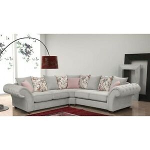 Image Is Loading New Huge Chesterfield Roma Corner Sofas Silver Grey