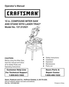 craftsman 137 212521 miter saw owners instruction manual ebay rh ebay com Craftsman 10 Miter Saw Manual Craftsman Band Saw Manual
