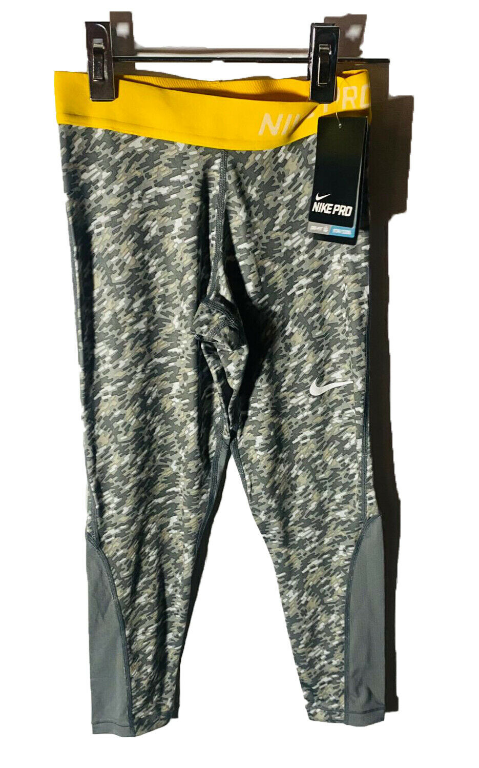 Nike Girls' Pro Cool Allover Print 1 Tights Yellow/Gray - SMALL