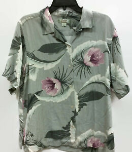 TOMMY-BAHAMA-Mens-Silk-Shirt-Button-Down-Tropical-Hawaiian-Green-Rose-Size-M