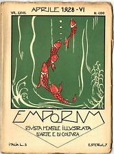 Rivista Emporium Aprile 1928 N. 400 Copertina Illustrata Luigi Zago Arti Marche