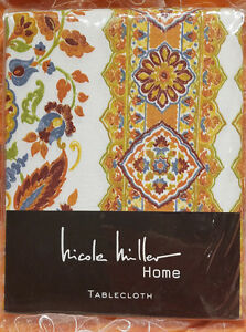 Nicole Miller Tablecloth 60 X 120 Cotton White Rust OBLONG Tapestry ~ SHIPS FREE