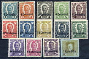 AUSTRIAN-MILITARY-POST-in-ITALY-1918-Karl-I-unissued-set-of-14-LHM