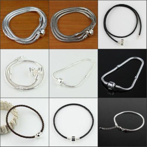 "New Leather Brass Silver Platinum Bracelet for European Charm  Beads  6.7/""-18.8/"""