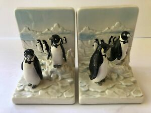 Vintage Pair 1983 OTAGIRI Penguins Iceburg Bookends So Cute   L3