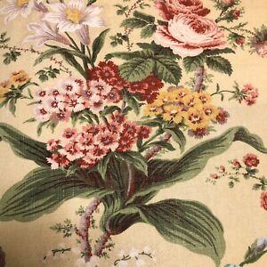 Waverly-Fabric-Lucinda-Vintage-Cornsilk-Pink-Floral-Flower-Home-Decor-BTY