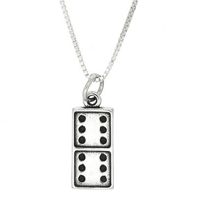 Sterling Silver Oxidized Domino Game Piece Dangle Bead Charm