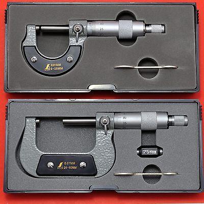 Japanese SHINWA MICROMETER outside 0-25-50mm 0,01mm new in box micromètre 78935