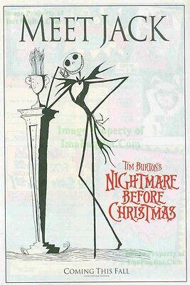 1994 The Nightmare Before Christmas Meet Jack Great Original Print Ad!