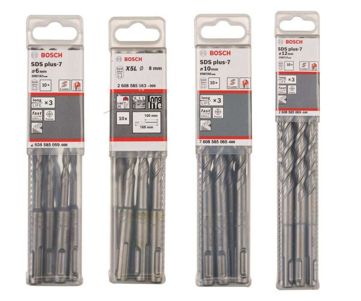 BOSCH Hammerbohrer SDS plus-7 - 6mm, 8mm, 10mm, 12mm 10er-Set Beton- Steinbohrer