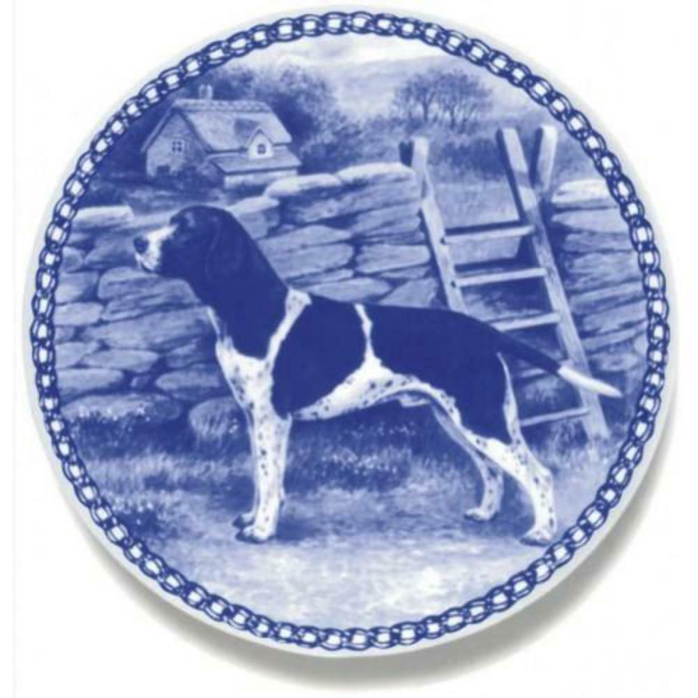 Old Danish Pointer  Dog Plate made in Denmark from the finest European Porcelai