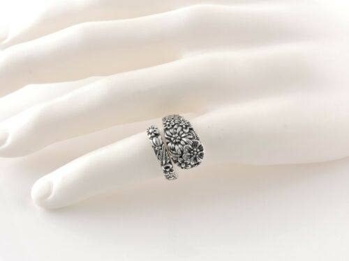 Sterling Silver Adjustable Floral Spoon Ring