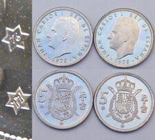 Lote De Monedas 5 Pesetas 1975 *76 Y *77 1976 Y 1977 De Juan Carlos Duro S/C Rey