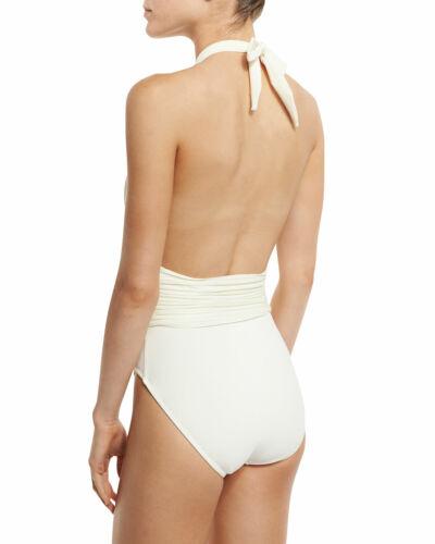 $223 GOTTEX 8 Pearl Goddess Deep Plunge Halter One Piece Swimsuit S
