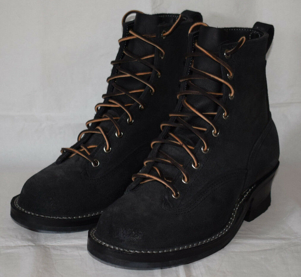 Nick's Black Leather Vibram Work Boots UK8 Handcrafted Made in USA Leather Laces