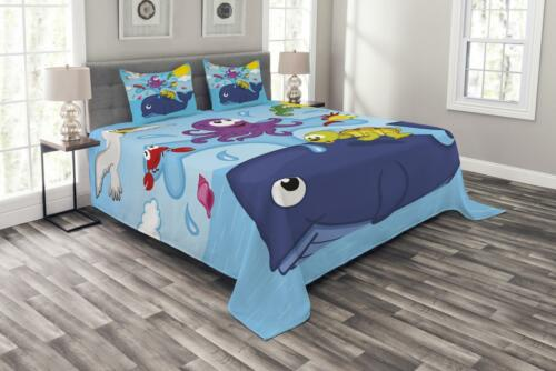 Playroom Quilted Bedspread /& Pillow Shams Set Marine Animals Print
