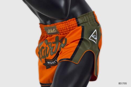 Fairtex BS1705 Shorts Satin Boxing Muay Thai Orange Green Olive Slim Cut Trunks