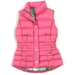 Lilly-Pulitzer-Women-039-s-Pink-Isabelle-Zip-Gold-Snap-Button-Puffer-Down-Vest-Sz-XS