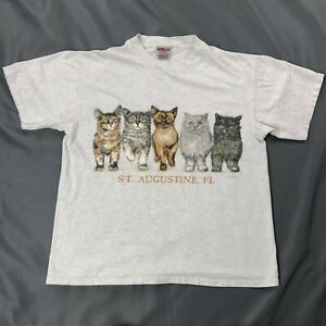 Vtg-Cats-St-Augustine-Florida-Double-Sided-Shirt-Sz-Large-Gray-Short-Sleeve-Tee