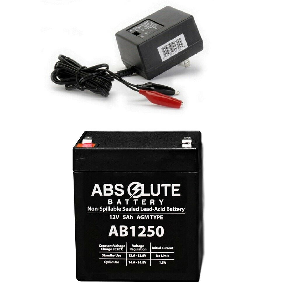 NEW AB1250 12V 5AH Replacement Battery for Power Patrol & CHARGER