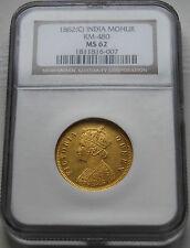 Rare1862 British India NGC MS62 Gold Mohur