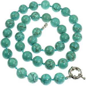 Genuine-semi-precious-turquoise-1-2-cm-round-bead-stone-50-cm-choker-necklace
