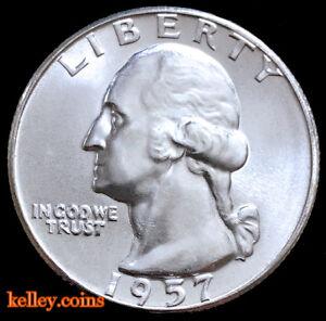 1957 25C Washington Silver Quarter BU