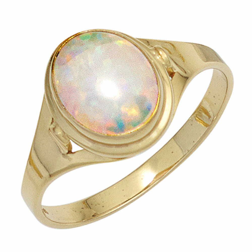 Ladies Ring with Opal Oval, 333 gold Yellow gold opalring gold Ring Finger Ring