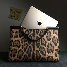 New DOLCE & GABBANA Leopard Aminal Print Large Shoulder Bag Handbag Tote Sicily