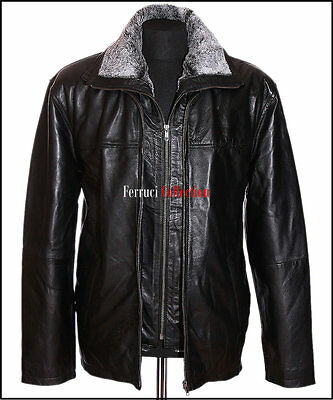 Jackson Black Men's Gents Smart Removable Fur Fleece Winter Real Leather Jacket