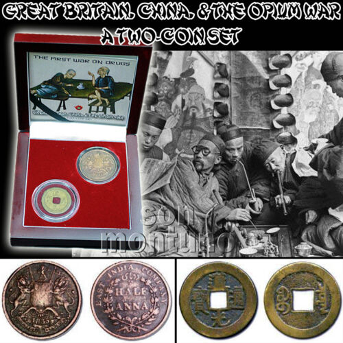 /& The Opium War 2 Coin Set in BOX+COA Great Britain FIRST WAR ON DRUGS China