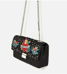 6c41514f Details about NWT ZARA QUILTED EMBROIDERED CROSSBODY BAG WITH CHAIN PATCHES  & STUDS BAG BLACK
