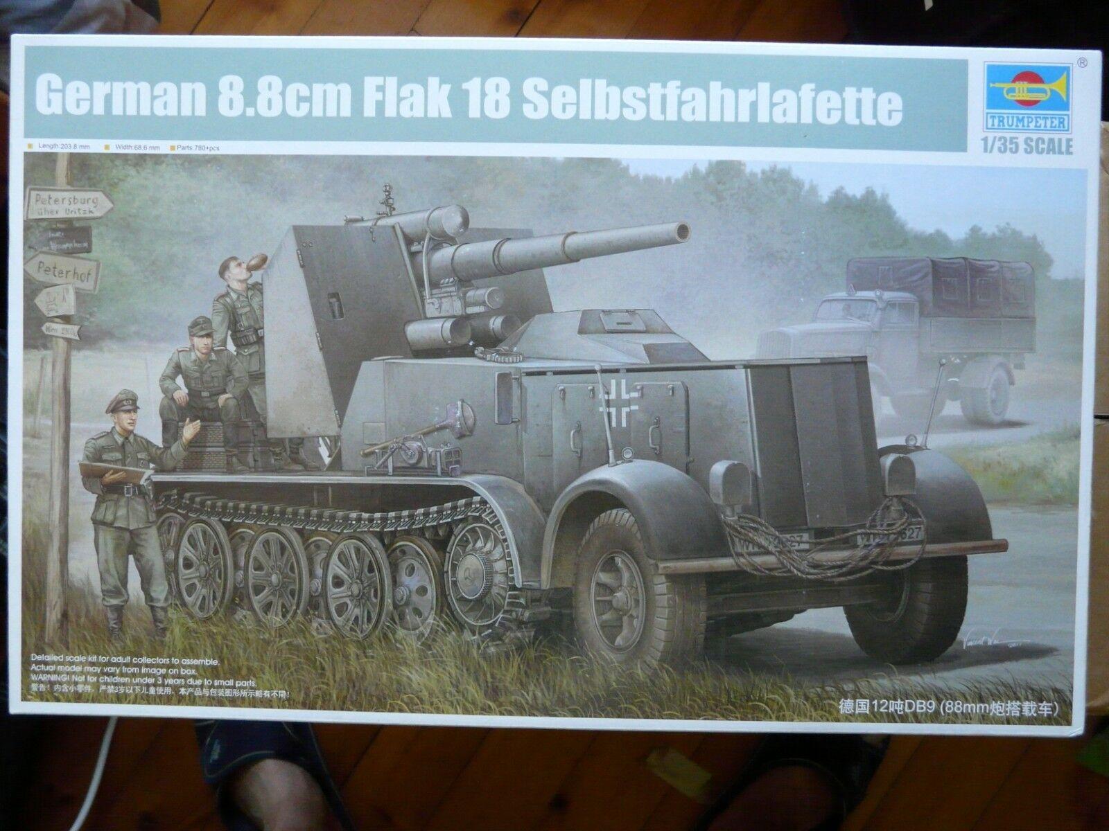 punto de venta barato Maquette WWII 1 35 TRUMPETER German German German 8.8cm Flak 18 Selbstfahrlafette 01585  ¡envío gratis!