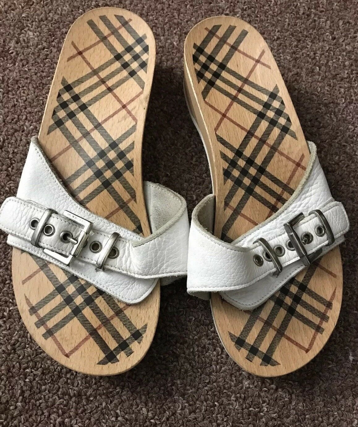 BURBERRY WOOD AND LEATHER SANDAL Donna.SIZE  8 Preowned 100% Authentic