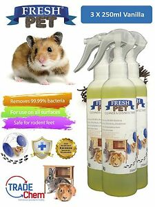 3-X-250ml-FRESH-PET-Rabbit-Hutch-and-Cage-Cleaner-Guinea-Pigs-Hamster-VANILLA