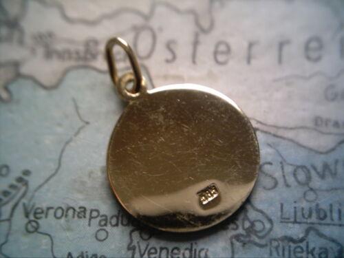 Steinbock signo del zodíaco oro 333 ronda placa cadenas remolque Capricornio oro 333