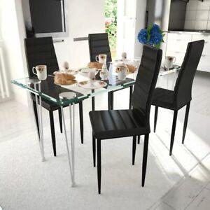 Dettagli su vidaXL Set 4 sedie tavola nere linea sottile 1 tavolo vetro  cucina sala salone