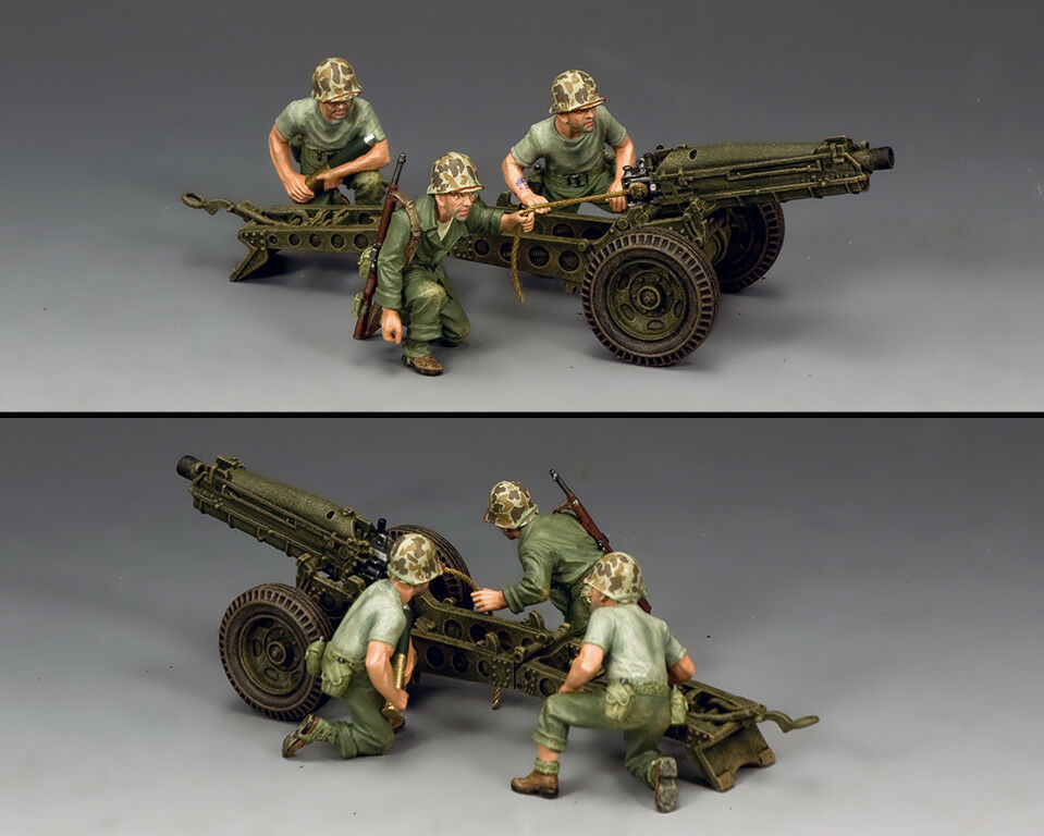 King & Country WWII US Marine 75mm Pack Howitzer & Crew USMC041 War in Pacific