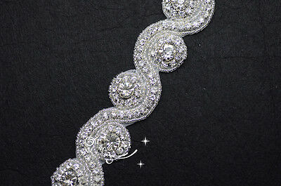 1 Yard AB crystal rhinestone beaded trim applique Iron on bridal costume sew on