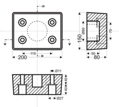 Rammpuffer  200 x 150 x 80  mm sehr robust NEU Gummipuffer