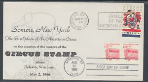 US-Planty-1309-15-FDC-1966-5c-Circus-Delavin-Circus-FIRST-CACHET